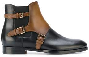 Santoni contrast buckled boots