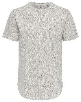 ONLY & SONS Printed Long Fitted Cotton Tee