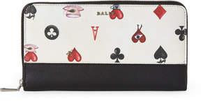 Bally White & Black Card Print Saffiano Zip-Around Wallet