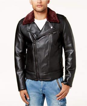 GUESS Men's Faux-Leather Fleece-Lined Biker Jacket