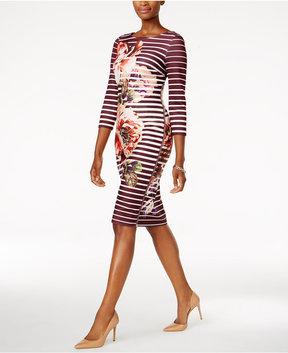 ECI Zipper Print Sheath Dress