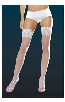 Dreamgirl White Sheer Thigh High with Lace Top 7030X-W White