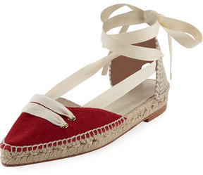 Castaner Colorblock Ankle-Wrap d'Orsay Espadrille, Red/White