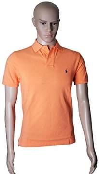 Polo Ralph Lauren Men Custom Fit Mesh Pony Logo Shirt (XL, PeachOrange)