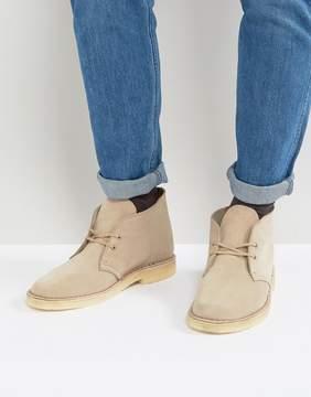 Clarks Suede Desert Boots In Beige