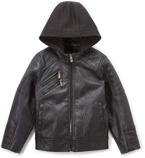 Urban Republic Black Zip-PocketFaux Leather Jacket - Boys