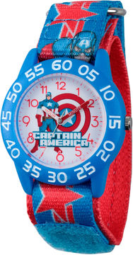 Marvel Boys Blue And Red Avengers Assemble Time Teacher Plastic Strap Watch W003211