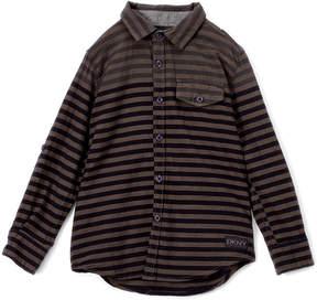 DKNY Charcoal Dual Stripe Long-Sleeve Button-Up - Boys