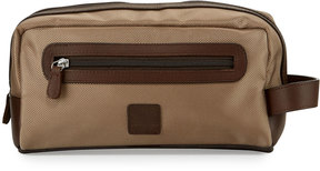 Neiman Marcus Leather-Trim Nylon Toiletry Bag, Tan