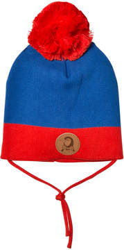 Mini Rodini Blue and Red Pom Pom Hat