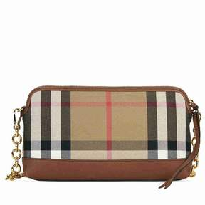 Burberry House Check and Leather Clutch - Tan - ONE COLOR - STYLE