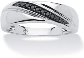 Black Diamond Seta Jewelry 1/10 Tcw Men's Round Diagonal Ring In Platinum Over .925 Sterling Silver.