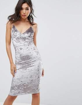 Club L Cami Strap Midi Bodycon Dress In Velvet