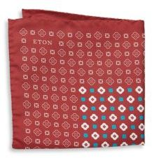 Eton Abstract-Print Raw Silk Pocket Square
