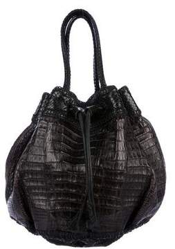 Carlos Falchi Fatto a Mano by Snakeskin-Trimmed Handle Bag