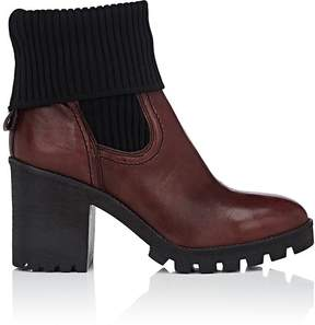 Barneys New York WOMEN'S FOLDOVER-CUFF LEATHER ANKLE BOOTS