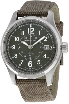 Hamilton Khaki Field Automatic Grey Dial Olive Green Canvas Men's Watch