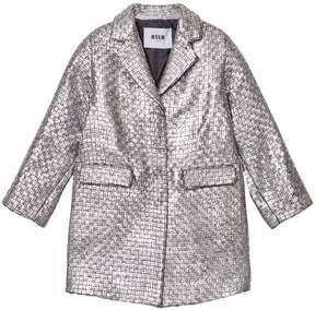 MSGM Silver Woven Coat