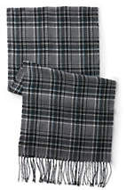 Lands' End Men's Plaid Scarf-Jet Black