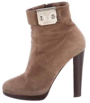 Hermes Round-Toe Suede Ankle Boots
