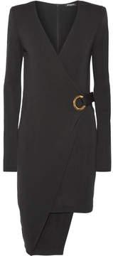 Balmain Asymmetric Wool Wrap Mini Dress - Black
