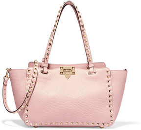 Valentino - The Rockstud Small Textured-leather Trapeze Bag - Baby pink