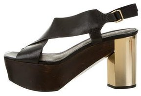 Calvin Klein Collection Elia Leather Platform Sandals