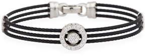 Alor Noir Steel & 18k Diamond Triple-Row Cable Bangle, Black