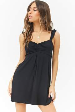 Forever 21 Ruched Ruffle-Trim Mini Dress