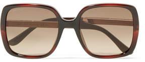 Jimmy Choo Chari Square-frame Glittered Acetate Sunglasses - Brown