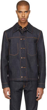 Nudie Jeans SSENSE Exclusive Blue Dry Selvedge Denim Ronny Jacket