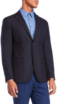 DKNY Navy Plaid Wool Sport Coat
