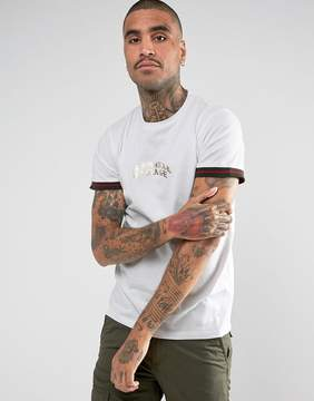 Criminal Damage T-Shirt In White With Tipped Sleeves