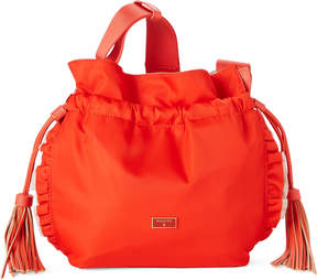 Patrizia Pepe Orange Drawstring Nylon Ruffle Shoulder Bag