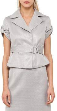 Akris Punto Short-Sleeve Metallic Safari Jacket