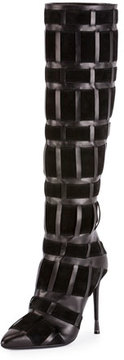 Tom Ford Woven Leather 105mm Knee Boot, Black
