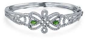 Celtic Bling Jewelry Simulated Green Emerald Cz Bridal Bangle Rhodium Plated.