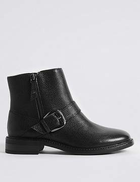 Marks and Spencer Wide Fit Leather Block Heel Ankle Boots