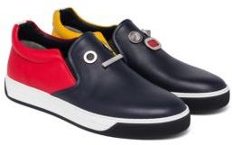 Fendi Faces Leather Slip-On Sneakers