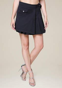 Bebe Pleated Mock Wrap Miniskirt
