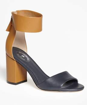 Brooks Brothers Color-Block Ankle-Strap Stacked-Heel Sandals