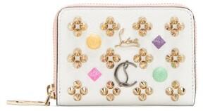 Christian Louboutin Panettone Embellished Zip Around Leather Wallet - Womens - White Multi