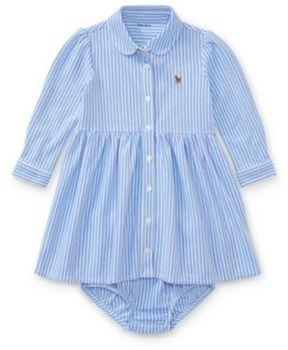 Ralph Lauren Striped Knit Oxford Dress Harbor Island Blue/White 12M