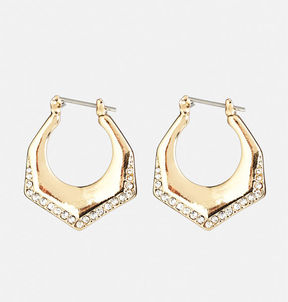 Avenue Stone Trim Hoop Earrings