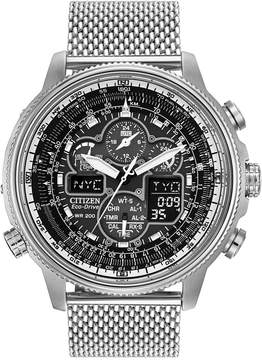 Citizen Men's Chronograph Navihawk Eco-Drive Stainless Steel Mesh Bracelet Watch 48mm JY8030-83E