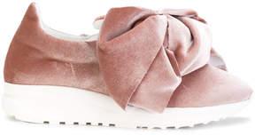 Joshua Sanders Flamingo velvet bow sneakers