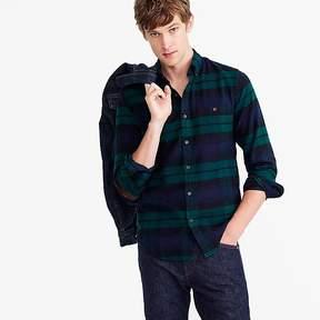 J.Crew Slim brushed heather elbow-patch shirt in Black Watch tartan