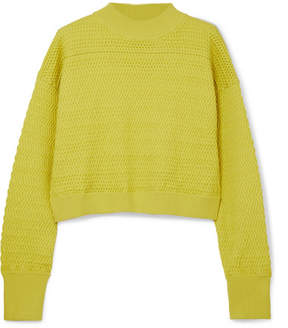 3.1 Phillip Lim Cropped Knitted Sweater - Chartreuse