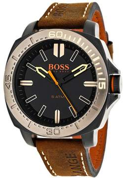 HUGO BOSS Orange 1513314 Men's Brown Leather and Stainless Steel Watch