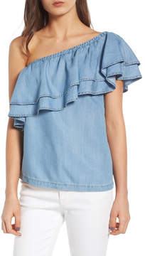 Chelsea28 One-Shoulder Chambray Top
